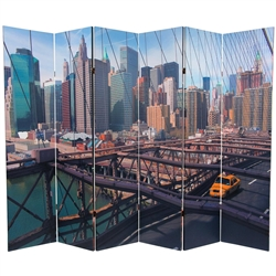 6 ft. Tall Double Sided NY Taxi Room Divider Screen (6 Panels)
