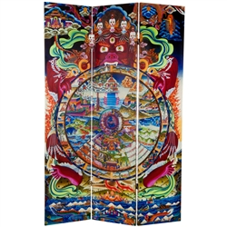 6 ft. Tall The Wheel of Life Double Sided Canvas Folding Screen