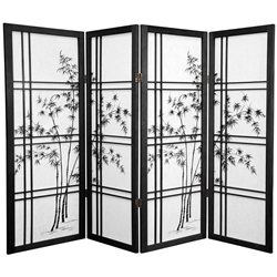 4 ft. Tall Double Cross Bamboo Tree Shoji Folding Screen (more panels & finishes)