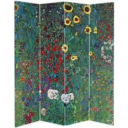 6 ft. Tall Double Sided Works of Klimt Room Divider - Tannenwald/Farm Garden 1
