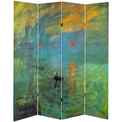 6 ft. Tall Double Sided Works of Monet Canvas Room Divider - Impression Sunrise/Houses of Parliament  1