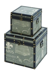Paris Themed Trinket Box Set In Blue Leather