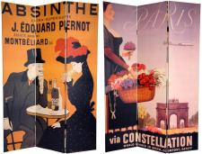 6 ft. Tall Double Sided Absinthe Canvas Room Divider Screen