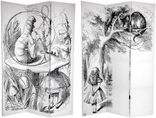 6 ft. Tall Double Sided Alice in Wonderland Canvas Room Divider Screen