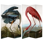 6 ft. Tall Double Sided Audubon Heron & Flamingo Canvas Room Divider Screen