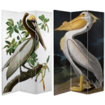 6 ft. Tall Double Sided Audubon Canvas Pelican Room Divider Screen