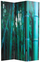 6 ft. Tall Double Sided Bamboo Tree Canvas Room Divider Screen