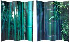 6 ft. Tall Double Sided Bamboo Tree Canvas Room Divider Screen 4 Panel