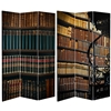 6 ft. Tall Double Sided Library Canvas Room Divider Screen