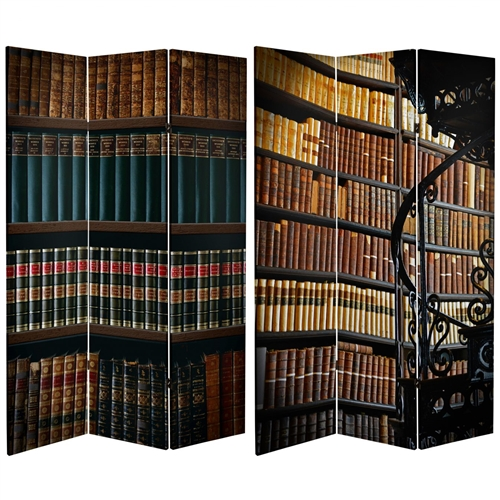 Tall Double Sided Library Canvas Room Divider Screen - 6 Ft. Tall Double Sided Library Canvas Room Divider Screen