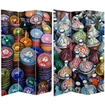 6 ft. Tall Double Sided Ceramic Bazaar Canvas Room Divider