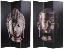 6 ft. Tall Double Sided Buddha Canvas Room Divider