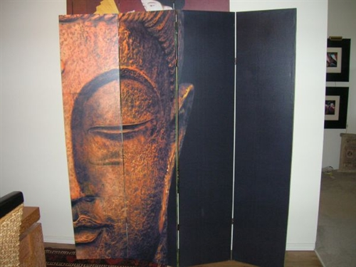 6 ft Tall Double Sided Buddha and Ganesh Canvas Room Divider 4 Panel
