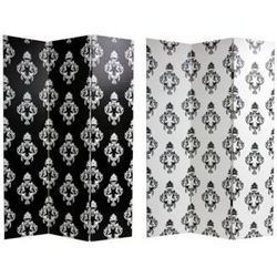 6 ft. Tall Double Sided Black and White Damask Canvas Room Divider Screen in 3-Panel