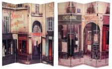 6 ft. Tall Double Sided French Cafe Canvas Room Divider 4 Panel