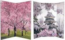 6 ft. Tall Double Sided Cherry Blossoms Room Divider 4 Panel