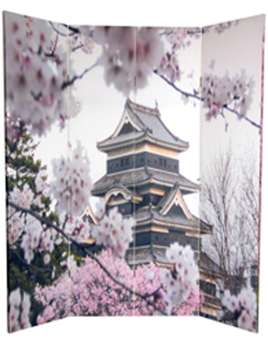 6 Ft Tall Solid Frame Fabric Room Divider 4 Panels: 6 Ft. Tall Double Sided Cherry Blossoms Room Divider 4 Panel