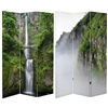 6 ft. Tall Double Sided Mountaintop Waterfall Canvas Room Divider Screen