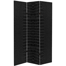 6 ft. Tall Double Sided Black Crocodile Print Canvas Room Divider