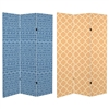 6 ft. Tall Double Sided Mediterranean Patterns Canvas Room Divider