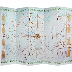 5 ft. Tall Winter's Peace Canvas Room Divider Screen (6 Panels)