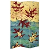 7 ft. Tall Double Sided Autumn Leaves Canvas Room Divider Screen