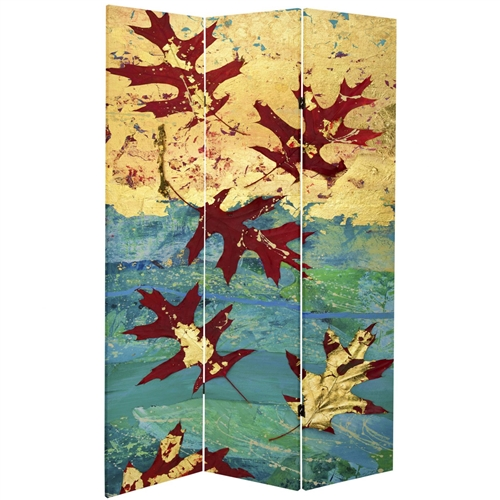 7 ft Tall Double Sided Autumn Leaves Canvas Room Divider Screen