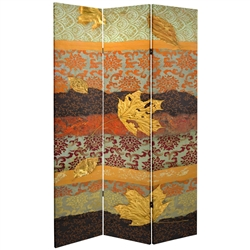 7 ft. Tall Double Sided October Gold Canvas Room Divider Screen