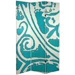 6 ft. Tall Double Sided Teal Vinyard Canvas Room Divider Screen
