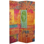 6 ft. Tall Double Sided Tangerine Dream Canvas Room Divider Screen