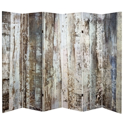 6 ft. Tall Double Sided Winter Woods Tree Trunks Room Divider Screen