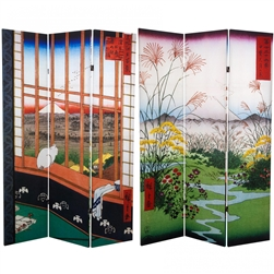 6 ft. Tall Double Sided Hiroshige Room Divider - Sea at Satta/Teahouse