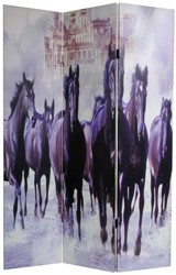 6 ft. Tall Double Sided Horses Canvas Room Divider
