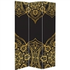 6 ft. Tall Double Sided Black Indian Pattern Canvas Room Divider