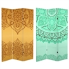 6 ft. Tall Double Sided Gold and Green Mandalas Canvas Room Divider