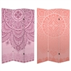 6 ft. Tall Double Sided Pink Mandalas Canvas Room Divider