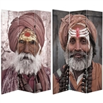 6 ft. Tall Double Sided Hindu Sadhu Canvas Room Divider