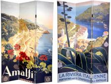 6 ft. Tall Double Sided Amalfi/Riviera Canvas Room Divider