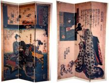 6 ft. Tall Double Sided Japanese Figures Room Divider