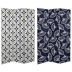 6 ft. Tall Double Sided Osaka Japanese Patterns Canvas Room Divider