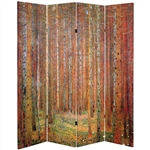 6 ft. Tall Double Sided Works of Klimt Room Divider - Tannenwald/Farm Garden