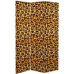 6 ft. Tall Double Sided Leopard Print Canvas Room Divider