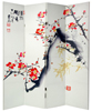 6 ft. Tall Double Sided Cherry Blossoms and Love Canvas Room Divider 4 Panel
