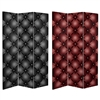 6 ft. Tall Double Sided Tufted Leather Print Canvas Room Divider