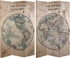 6 ft. Tall Double Sided Vintage Globe Canvas Room Divider
