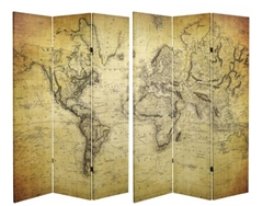 6 ft. Tall Double Sided Vintage World Map Canvas Room Divider