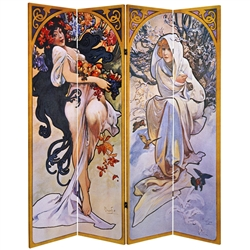 6 ft. Tall Double Sided Four Seasons Canvas Room Divider Screen