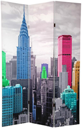 6 ft. Tall Colorful New York Scene Room Divider