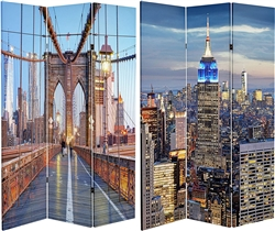 6 ft. Tall Double Sided Vibrant New York Bridge Canvas Room Divider