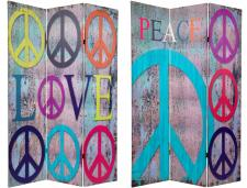 6 ft. Tall Double Sided Multi-Color Peace & Love Room Divider